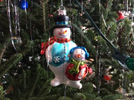 Snowman ornament on the Birch Ridge Inn Christmas Tree