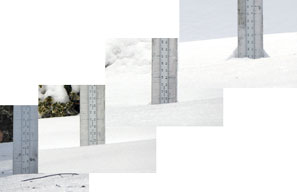 Progression of snow at the Birch Ridge Inn Snow stake over the last week.