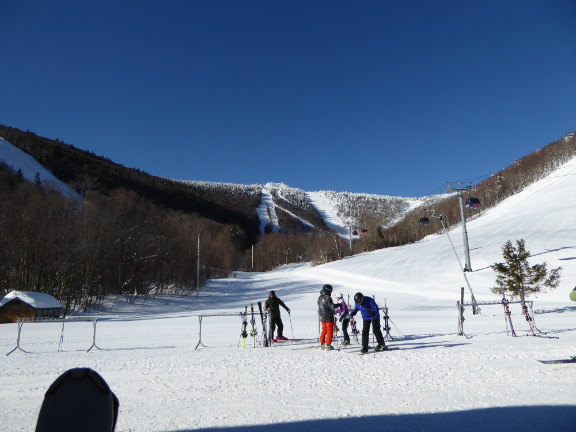 Killington Peak in the background as todays group gets ready to journey out.  Notice the \